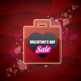 Valentines day heart shape sale label or sticker on abstract red background with blur lights. Vector sales poster or. Valentines day heart shape sale label or Stock Photography