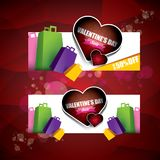 Valentines day heart shape sale label or sticker on abstract red background with blur lights. Vector sales poster or. Valentines day heart shape sale label or Royalty Free Stock Photography