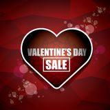 Valentines day heart shape sale label or sticker on abstract red background with blur lights. Vector sales poster or. Valentines day heart shape sale label or Royalty Free Stock Image
