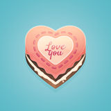Valentines day, heart shaped cake Royalty Free Stock Photos