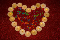 Valentines day heart shaped candle Stock Images