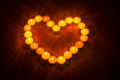 Valentines day heart shaped candle Stock Photos