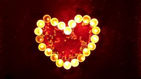 Valentines day heart shaped candle stock video footage
