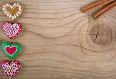 Valentines Day Heart Shaped Ginger Bread on wood Royalty Free Stock Photo