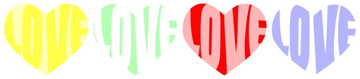 Love Words Colorful Heart Shapes. Valentines day heart shapes and love words written on yellow, green, red and blue Stock Photos