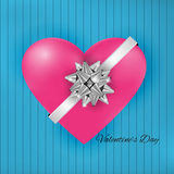 Valentines Day ,heart and silver bow white text in interiors roo Royalty Free Stock Photo