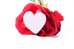 Valentines Day heart in silver box and greeting card isolated on white Stock Image
