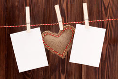 Valentines day heart toy and photos Stock Images