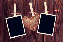Valentines day heart toy and photos Royalty Free Stock Image