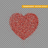 Valentines Day heart , transparent vector effect background. Festive decorations bright glitter placer. Holiday love decor illustration. Beautiful design Royalty Free Stock Photography