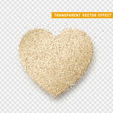 Valentines Day heart , transparent vector effect background. Festive decorations bright glitter placer. Holiday love decor illustration. Beautiful design Royalty Free Stock Images