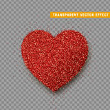 Valentines Day heart , transparent vector effect background. Festive decorations bright glitter placer. Holiday love decor illustration. Beautiful design Royalty Free Stock Photos