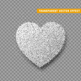 Valentines Day heart , transparent vector effect background. Festive decorations bright glitter placer. Holiday love decor illustration. Beautiful design Stock Photos
