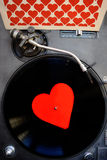 Valentines day with heart and vinyl record Stock Photo