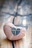 Valentines Day heart on wood background Stock Photos