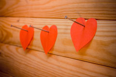 Valentines Day.Heart on wooden background. Red Stock Images