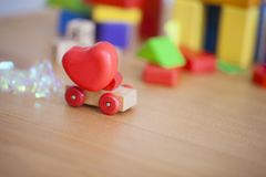 Valentines day heart on a wooden car backgroud concept for love, Stock Photography