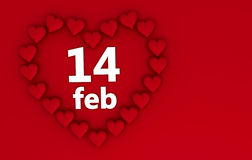 Valentines Day Hearts. Heart shaped frame for valentines day on red background with copyspace Stock Images
