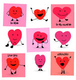 Valentines Day Hearts cartoons. Happy Valentines Day Hearts card designs Royalty Free Stock Photos
