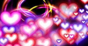 Valentines Day Hearts and Circles Large R to L Fade Loop stock video footage