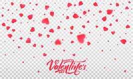 Valentines Day. Hearts confetti romantic background. Transparent hearts and Happy Valentine`s Day lettering.  Royalty Free Stock Photos