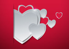Valentines Day. Hearts Cut from Paper Royalty Free Stock Photography