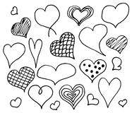 Valentines day hearts doodles set. Romantic stickers collection. Hand drawn effect.  stock illustration