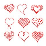 Valentines day hearts doodles set. Romantic stickers collection. Hand drawn effect vector.  Stock Photos