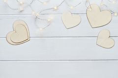 Valentines Day Hearts with Fairy Lights Royalty Free Stock Photography
