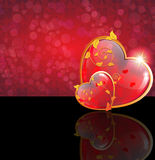 Valentines Day hearts with floral pattern Stock Photography