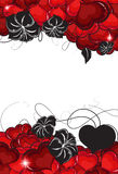 Valentines Day hearts and flowers silhouettes Royalty Free Stock Images