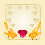 Valentines day hearts and gold birds background vector Stock Photography