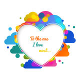 Valentines day hearts greeting card on colorful Stock Photography