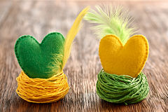 Valentines Day. Hearts Handmade Couple in nests. Love concept. Stock Photo