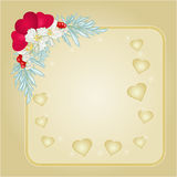 Valentines day hearts and jasmine gold background vector Royalty Free Stock Images