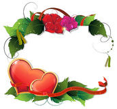 Valentines Day hearts, leaves and flowers Stock Photo