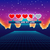 Valentines Day hearts of love themed retro game card with 80s styled neon landscape and life loading status bar Royalty Free Stock Photography