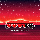 Valentines Day hearts of love themed retro game card with 80s styled neon landscape and life loading status bar Royalty Free Stock Photos