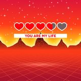Valentines Day hearts of love themed retro game card with 80s styled neon landscape and life loading status bar. Valentines Day hearts of love themed retro game Royalty Free Stock Images