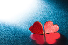 Valentines day hearts on metal Royalty Free Stock Photography