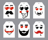 Valentines day hearts and mustaches. Greeting card Royalty Free Stock Images