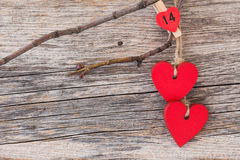 Valentines day hearts over wooden background. Toned, soft focus, copy space Royalty Free Stock Photo