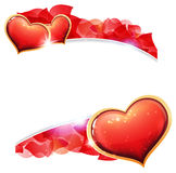 Valentines day hearts and  petals Royalty Free Stock Photo