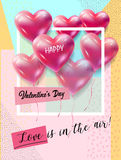 Valentines Day. Hearts poster for Valentines Day. Love in the Air! lettering Holiday greeting card festive pink hand made background with hearts balloons Vector Royalty Free Stock Photo