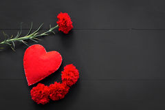 Valentines day with hearts and red flowers Royalty Free Stock Image