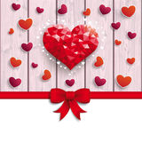 Valentines Day Hearts Red Ribbon Lowpoly Pink Wood Stock Image