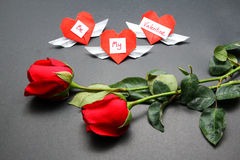 Valentines day hearts and roses Royalty Free Stock Photos