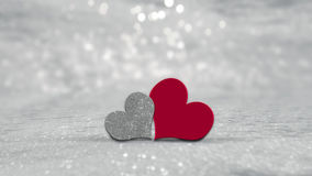 Valentines Day hearts on silver background Stock Photo