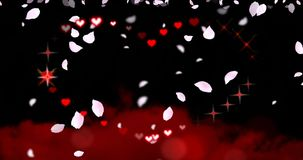 Valentines Day Hearts and Sparkles with Falling Petals. Animated drawing of a Valentines Day / wedding heart shape with chasing sparkles and hearts, pink flower stock footage