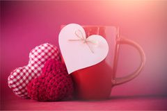 Valentines Day hearts. On coffee cup Stock Photography